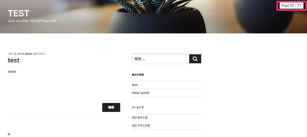 wordpressでログイン時だけ、表示ページに投稿IDを表示させるphp